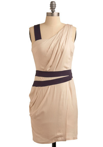 Winding Rhodes Dress - Cream, Blue, Pleats, Formal, Wedding, Party, Sheath / Shift, Sleeveless, Tank top (2 thick straps), Mid-length