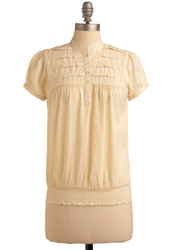 Prairie Poet Top - Cream, Solid, Embroidery, Eyelet, Casual, Short Sleeves, Mid-length