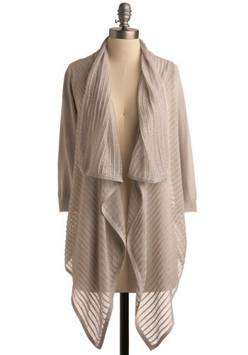 Added Interest Cardigan - Grey, Solid, Casual, Urban, 3/4 Sleeve, Fall, Winter, Mid-length