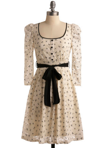 Moments to Remember Dress - Cream, Black, Print, Casual, A-line, Long Sleeve, Mid-length, Belted, Sheer, Buttons