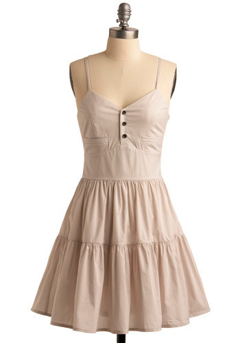 Summer Will Come Dress - Cream, White, Stripes, Buttons, Ruffles, Tiered, Casual, A-line, Spaghetti Straps, Mid-length