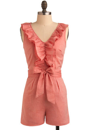 Gelateria Romper - Pink, Solid, Bows, Exposed zipper, Pleats, Ruffles, Casual, Sleeveless, Spring, Summer, Long