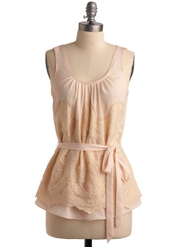 Tea Tasting Top - Pink, Cream, Floral, Lace, Casual, Tank top (2 thick straps), Long