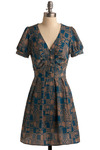 Front of the Lino Dress - Blue, Tan, Print, Casual, A-line, Short Sleeves, Mid-length