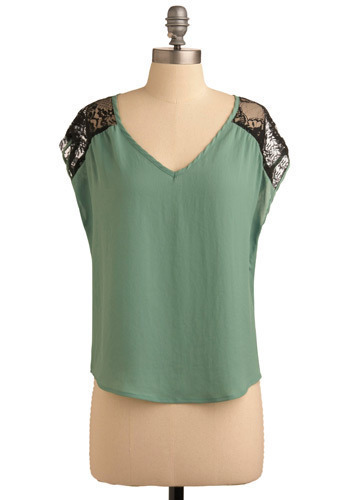Thyme and Again Top - Green, Black, Floral, Lace, Casual, Cap Sleeves, Mid-length
