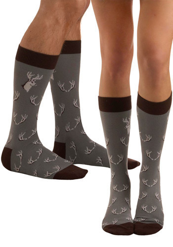 Big Bucks Socks - Grey, Brown, White, Print with Animals, Novelty Print, Casual, Knitted, Holiday