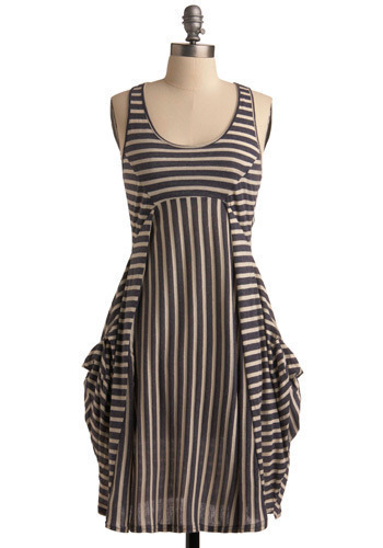 Learn Your Lines Dress - Stripes, Pockets, Empire, Racerback, Tan / Cream, Grey, Mid-length