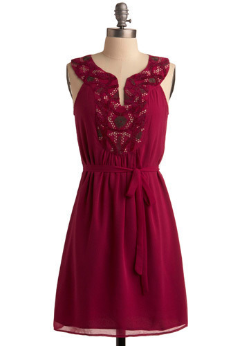 Fuchsia Infusion Dress | Mod Retro Vintage Printed Dresses | ModCloth.com :  party frock notched neckline embroidered tie waist