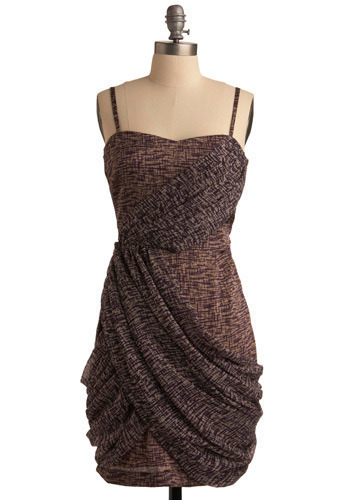 Drape Work of Art Dress - Purple, Brown, Print, Party, Casual, Shift, Spaghetti Straps, Mid-length