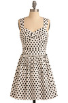 Spotted Around Town Dress - White, Black, Polka Dots, Cutout, Casual, A-line, Sleeveless, Spring, Summer, Short