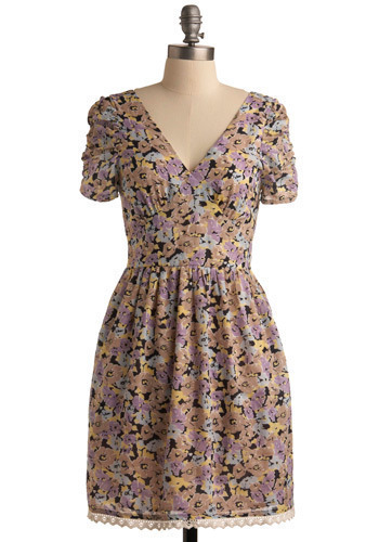 Janey Jump-Ups Dress - Multi, Yellow, Blue, Pink, Tan / Cream, Black, Floral, Lace, Pockets, Trim, Casual, A-line, Cap Sleeves, Spring, Summer, Mid-length
