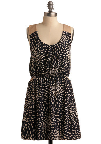 Unexpected Twist Dress - Black, Tan / Cream, White, Print, Pockets, Casual, A-line, Racerback, Spring, Summer, Short