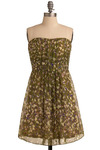 Full Greenery Dress - Green, Yellow, Purple, Pink, Floral, Pleats, Party, Casual, A-line, Empire, Strapless, Spring, Summer, Short