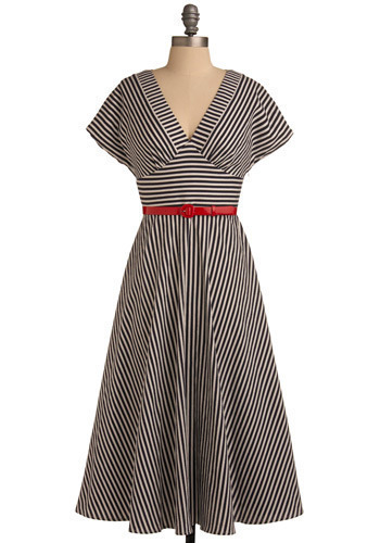 Still Life Photographer Dress - Black, White, Stripes, Casual, A-line, Short Sleeves, Long