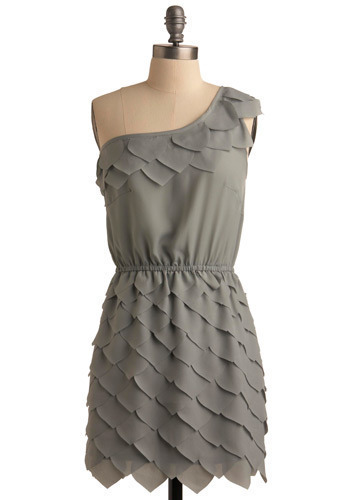 Faerie-st of Them All Dress - Grey, Solid, Special Occasion, Wedding, Party, Shift, One Shoulder, Short