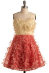 Singing the Blooms Dress - Flower, Prom, Wedding, Party, A-line, Empire, Strapless, Spring, Tan / Cream, Pink, Mid-length