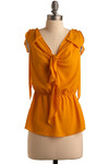 A One and A Turmeric Top - Yellow, Solid, Bows, Ruffles, Party, Work, Casual, Spring, Summer, Mid-length