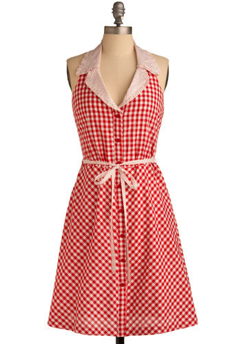 Marvel at the Malt Shop Dress - Red, White, Checkered / Gingham, Bows, Buttons, Pockets, A-line, Shirt Dress, Halter, Spring, Summer, Long
