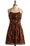 July Dreaming Dress - Red, Multi, Floral, Ruffles, Casual, A-line, Halter, Spring, Summer, Short