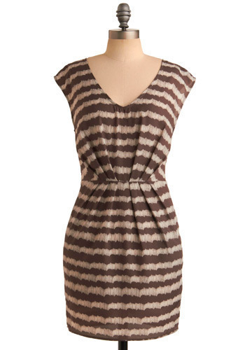 Aftershock Dress - Brown, Cream, Stripes, Casual, Shift, Cap Sleeves, Short