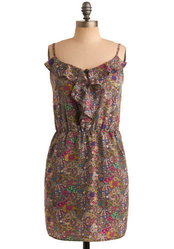 Paisley Tribute Dress - Brown, Multi, Yellow, Green, Blue, Purple, Pink, Tan / Cream, Paisley, Ruffles, Casual, Sheath / Shift, Spaghetti Straps, Spring, Summer, Mid-length