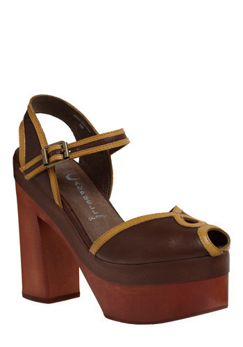 I Got Sole Heel by Jeffrey Campbell - Brown, Yellow, Buckles, Cutout, Trim, Party, Casual, Boho, Vintage Inspired, 70s, Spring, Summer, Fall