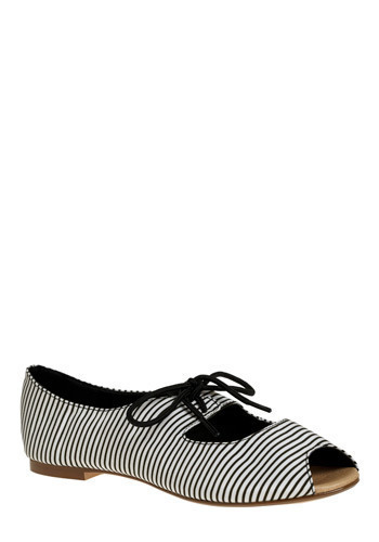Shoestring Licorice Flat in Anise - Stripes, Bows, Cutout, Casual, Spring, Summer, Nautical, Black, Grey, White, Press Placement
