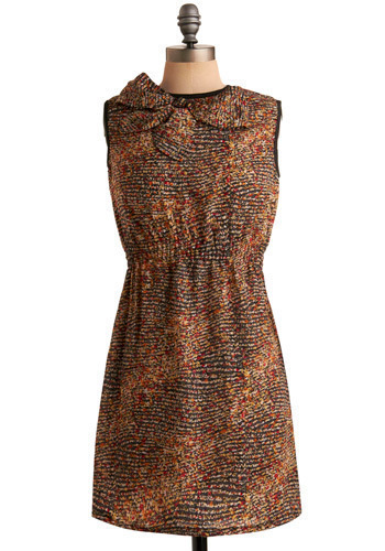 Make an Impression Dress - Multi, Red, Orange, Tan / Cream, Black, White, Polka Dots, Floral, Bows, Cutout, Casual, Sheath / Shift, Sleeveless, Spring, Summer, Short