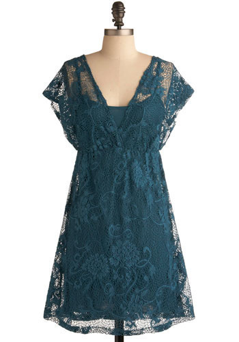 Sea You Later Dress - Blue, Floral, Lace, Casual, A-line, Short Sleeves, Boho, Short