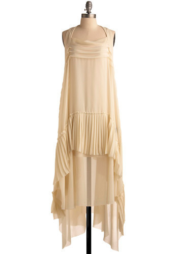 By Cover of Cirrus Dress - Cream, Solid, Pleats, Tiered, Casual, Tent / Trapeze, Spaghetti Straps, Long