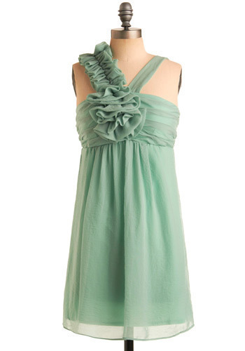Rising from the Sea Dress - Special Occasion, Prom, Wedding, Party, Mid-length, Green, Empire