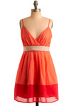 Pink Citrus Dress - Orange, Red, Pink, Tan / Cream, Pleats, Casual, Empire, Tank top (2 thick straps), Spring, Summer, Short