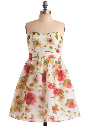 Fresh Bouquet Dress - White, Green, Blue, Pink, Floral, Pleats, Casual, Empire, Strapless, Spring, Summer, Mid-length