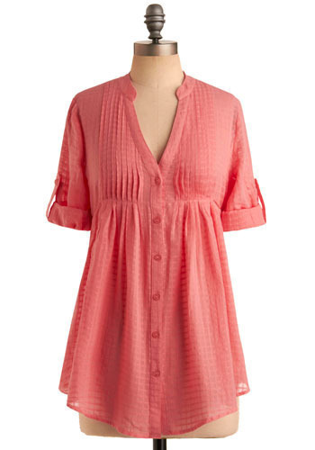 Yay for Sorbet Tunic - Pink, Buttons, Pleats, Casual, 3/4 Sleeve, Short Sleeves, Spring, Summer, Long