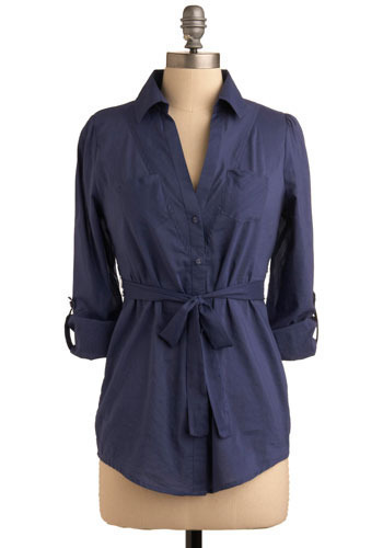 Serene Sea Top - Blue, Solid, Bows, Buttons, Pockets, Work, Casual, Nautical, Long Sleeve, Spring, Fall, Winter, Mid-length