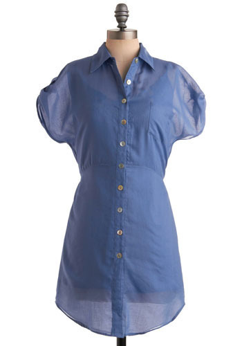 Resident Artist Top by Jack by BB Dakota - Blue, Solid, Buttons, Lace, Pockets, Casual, Short Sleeves, Spring, Summer, Long