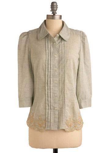 Lovely Lake Island Top - Grey, Tan / Cream, Buttons, Embroidery, Pleats, Work, Casual, 3/4 Sleeve, Mid-length