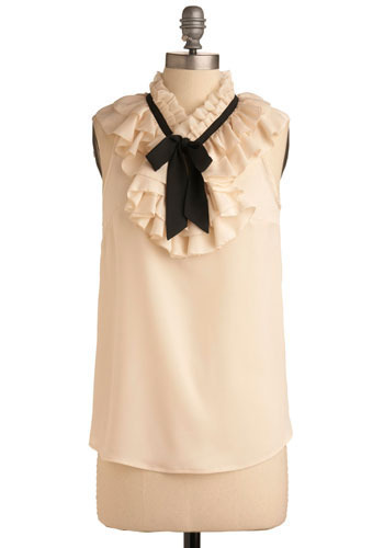 Fresh Paper Top - Cream, Black, Solid, Bows, Ruffles, Wedding, Party, Work, Sleeveless, Mid-length