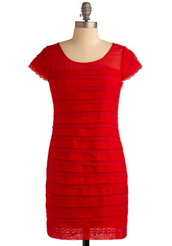 City Sizzle Dress - Red, Lace, Tiered, Work, Casual, Urban, Shift, Cap Sleeves, Spring, Summer, Short