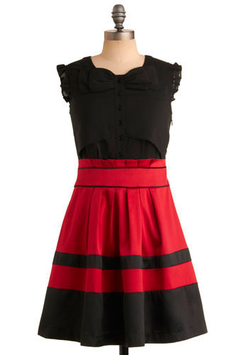 Smitten and Smoldering Dress - Black, Red, Color Block, Bows, Buttons, Pleats, Ruffles, Wedding, Party, Casual, A-line, Sleeveless, Mid-length
