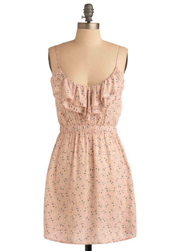 Take a Gander Dress - Pink, Blue, Tan / Cream, Print with Animals, Ruffles, Tiered, Casual, A-line, Spaghetti Straps, Short