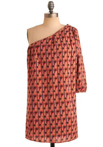 Oh Mi-ami Dress - Orange, Pink, Multi, Blue, Pink, Brown, Casual, Sack, One Shoulder, Spring, Summer, Short