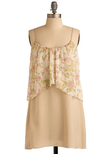 Spring Spirit Dress - Cream, Green, Pink, Floral, Casual, Tent / Trapeze, Spaghetti Straps, Spring, Summer, Short
