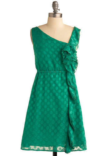 Come On Clover Dress - Green, Flower, Ruffles, Special Occasion, Wedding, Party, A-line, Sleeveless, Spring, Short