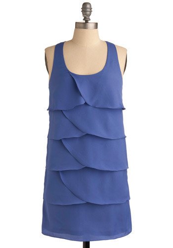 Keeping Current Dress - Blue, Solid, Exposed zipper, Tiered, Wedding, Party, Casual, Shift, Tank top (2 thick straps), Racerback, Short