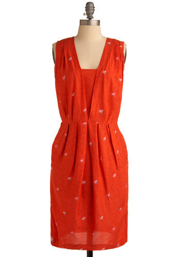 Persimmon Tree Dress - Red, Pink, Floral, Buttons, Pleats, Casual, Sheath / Shift, Sleeveless, Spring, Summer, Long