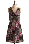 Belle et La Fete Dress - Purple, Black, Grey, Print, Casual, A-line, Sleeveless, Short