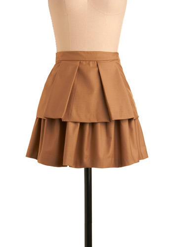 Pleased to Pleat You Skirt - Tan, Solid, Pleats, Tiered, Casual, Urban, A-line, Spring, Summer, Fall, Mini, Short, Press Placement