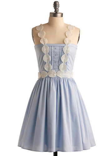 Dreaming of Blue Dress - Blue, White, Solid, Buttons, Crochet, Lace, Pleats, Casual, A-line, Tank top (2 thick straps), Spring, Summer, Mid-length, Press Placement
