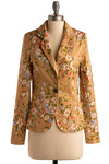 Style Oasis Blazer - Tan, Multi, Yellow, Green, Blue, Pink, Floral, Buttons, Work, Casual, Long Sleeve, Spring, Summer, Fall, Mid-length, 1.5